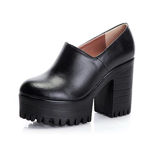 Amoonyfashion Kvinners Høye Hæler Rund Lukkede Tå Mykt Materiale Ankel-høy  Pumpe-sko Svart