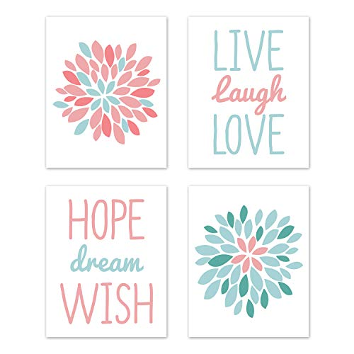 (Sweet Jojo Designs Turquoise and Coral Floral Wall Art Prints Room Decor for Baby, Nursery, and Kids for Emma Collection - Set of 4 - Live Laugh Love)