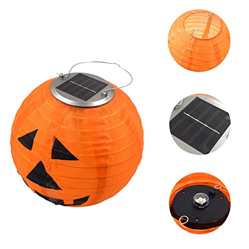 Solar Portable Non-Woven Halloween Pumpkin Pattern Lantern Light Decoration Lantern Outdoor Hanging Lamp,Orange -