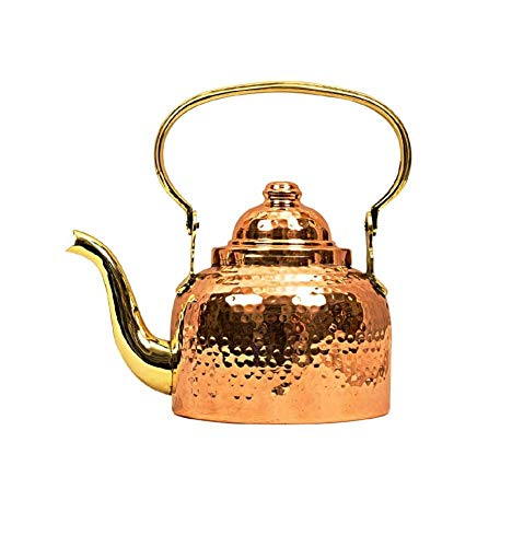 Copper Classic Kettle - Pure copper kettle | Solid Copper Hammered Tea Kettle pot inside tin Classic Espresso Coffee Pouring Pot for Home Kitchen, Hotel, Restaurant and Office| kettle | Capacity 40 Ounce Approx
