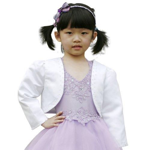 F&L Flower Girls' Long Sleeve Satin Bolero Jacket with Beadings Size 6 White