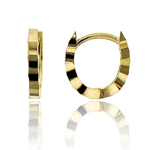 14K Yellow Gold Diamond Cut 1.30x10.00mm U Shaped Huggie Earring ()