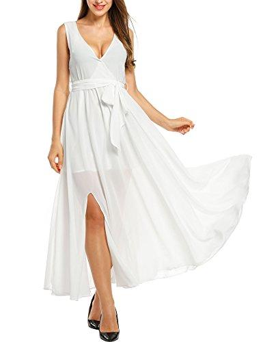 Meaneor Women's V Neck Loose Chiffon Side Slit - White Plus Size Beach Dress