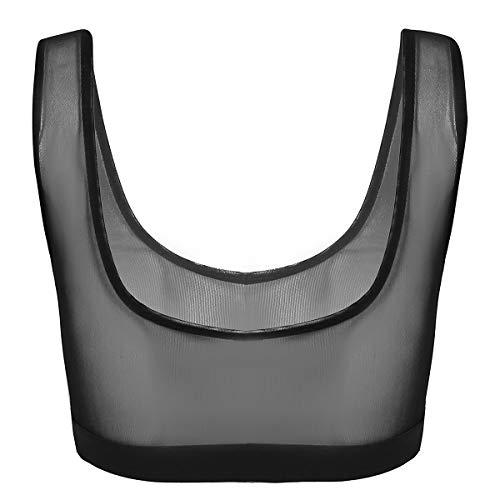 Agoky Women's Sleeveless Sheer Mesh See Through Tank Top Sexy Bralette Bra Vest Crop Tops Black Large