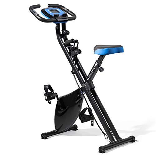 Lifepro Foldable stationary bike, Pulse Sensors, Adjustable Resistance – Slim Portable Bike Exercise Machine for Indoor…