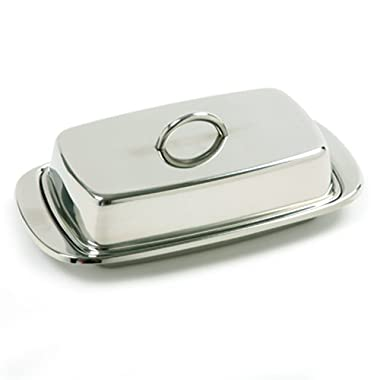 Norpro 282 Stainless Steel Double Covered Butter Dish, Silver