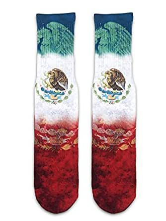 Hikicksocks Unisex Graphic Custom Crew Socks-Mexico Flag