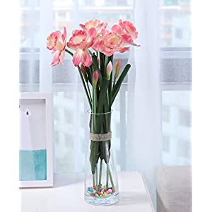 Skyseen 3PCS PU Real Touch Lifelike Artificial Daffodils Fake Narcissus Flower Wedding Home Party Decoration (Pink) 105