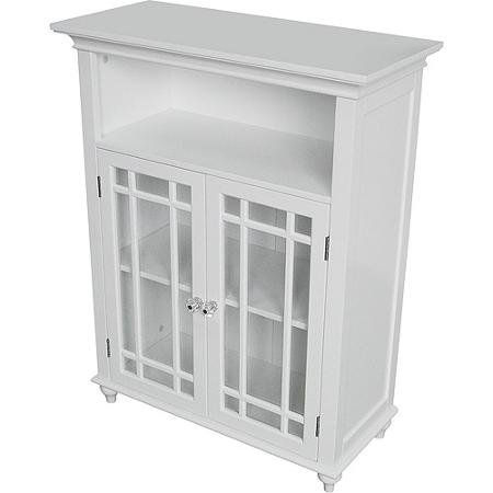 Sturdy Heritage Double Door Floor Cabinet, White by Elegant Home Fashions