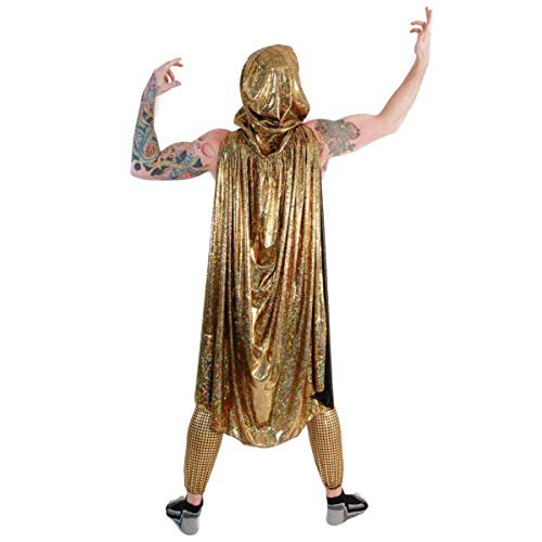 Gold Cloak Holographic Medieval Rave Costume Festival Clothes Accessories Outfit