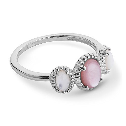 Pink Mother Of Pearl Ring (JEN Sterling Silver & Pink & White Mother of Pearl Three Stone Band Ring)