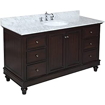 Kitchen Bath Collection KBC655CARR Bella Single Sink Bathroom Vanity With  Marble Countertop, Cabinet With Soft