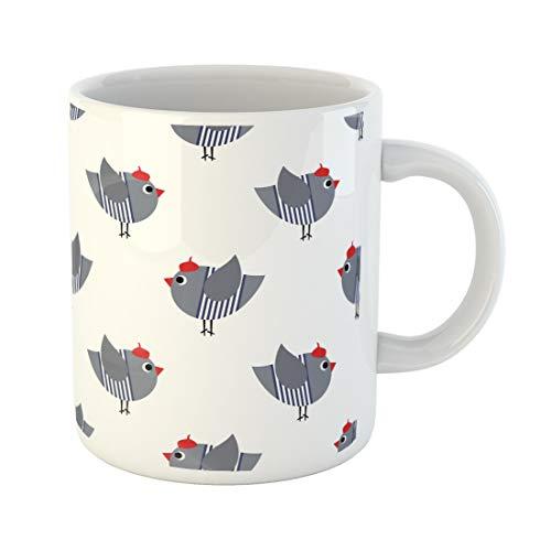 Emvency Funny Coffee Mug French Birdie on White Cute Cartoon Bird Child Drawing Dressed Sparrow with Red 11 Oz Ceramic Coffee Mug Tea Cup Best Gift Or Souvenir