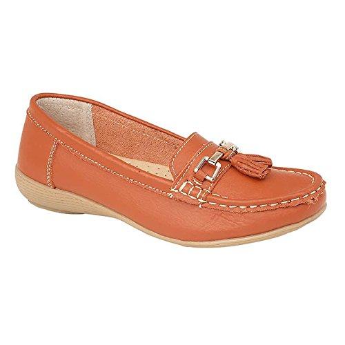 brand katt Plimsole Damen Schuhe Leder Damen Pumps Quaste Orange Flache Slipper BUrRxBdnq