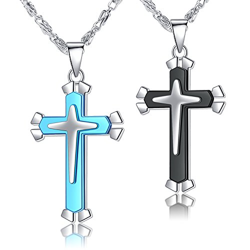 Paxuan Mens Womens 2PCS Surgical Stainless Steel Black Blue Cross Pendant Chain Necklace Set for Men Women 22'' + 24'' (Black + Blue)