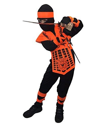 Rubber Johnnies Neon Ninja Costumes, Kids, Costume Costume (4-6 Years, Neon Orange) -