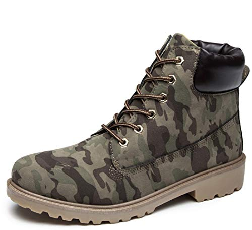 寮思い出増幅する女性のアウトドアハイキングシューズシングルブーツレディースPUブーツレディースフラットラージサイズピンクマーティンブーツレディースブーツウォームブーツ (色 : Plus velvet camouflage, サイズ : 39)