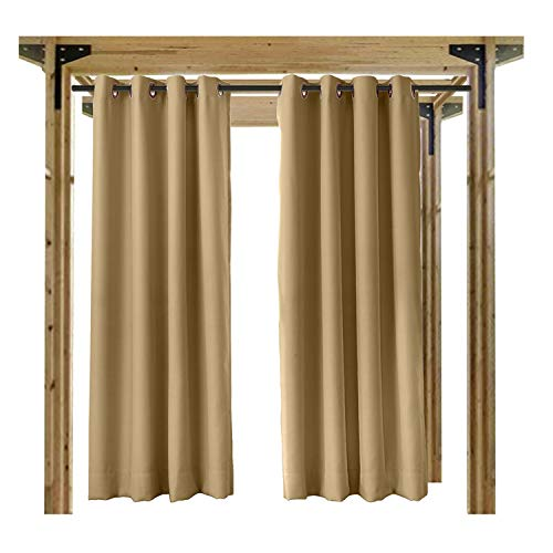 cololeaf Outdoor Curtains For Patio Waterproof Set of 2 Panels,Grommet Top Thermal Insulated Blackout Outdoor Curtain Drape for Porch, Gazebo, Pergola, Cabana - Wheat 52