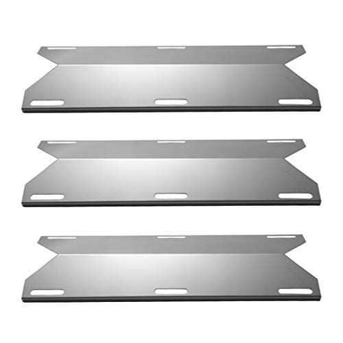 YIHAM KS745 Stainless Steel Heat Plate, Gas BBQ Heat Shield, Heat Tent, Burner Cover, Grill Replacement Parts for Jenn-air, Nexgrill, Costco Kirland, Glen Canyon, 17 3/4 inch x 6 3/8 Inch, Set of 3