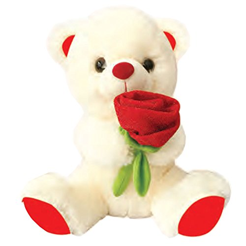 Valentines Day Gift Teddy Bear Plush Stuffed Animal With With Red Rose 9 inch, Peach