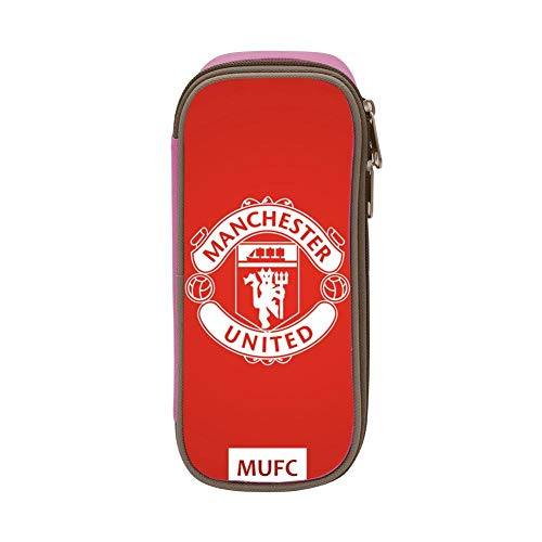 GIGIBO Manchester United MUFC Students Canvas Pencil Case Durable Zipper Pen Bag Pink