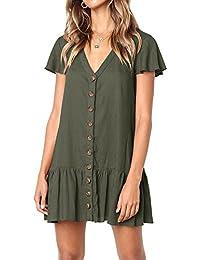 Womens V Neck Button Down Shirt Dresses Short Sleeve...