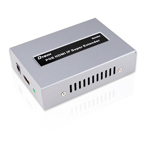 DTECH 390ft PoE HDMI Extender Sender Box Over Single Cat5 Cat6 Ethernet Cable by TCP IP Standard with IR Remote Rack Mount 1080p Support up to 120m 1 Transmitter to Multi Receivers