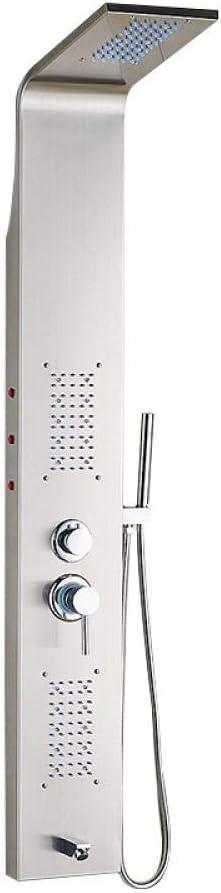Ducha de acero inoxidable_304 con dos botones con luces Mampara de ...