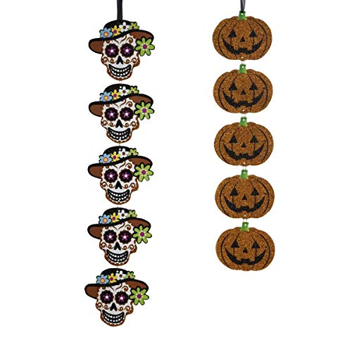 - 2 Set Hanging Pumpkin Lanterns Halloween Decorations Banner Flag Embroidery Glitter foil Paper Garland for Mantle,Door,Wall Decor