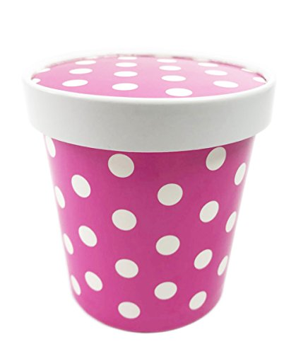 Black Cat Avenue 16 oz Pint Size Disposable Polka Dots Paper Ice Cream Containers, 15 Count, Pink