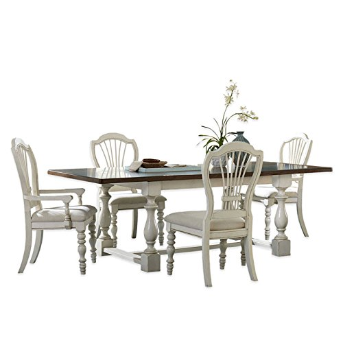5-Piece Trestle Dining Set with Wheat Back Chairs in Old White