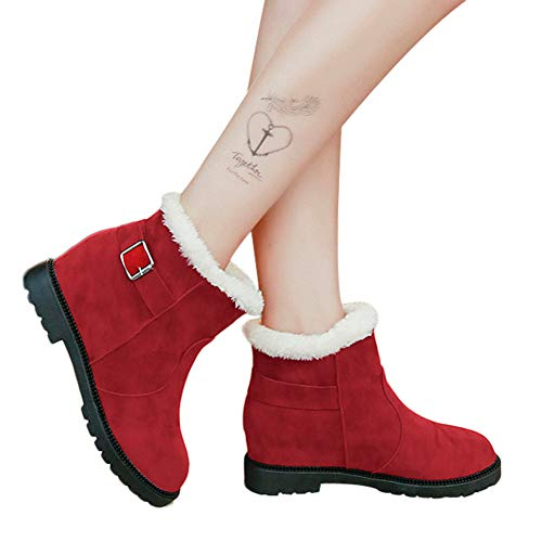 - Women Ankle Booties Faux Fur Lined Suede Round Toe Shoes with Buckle Strap by Lowprofile Red