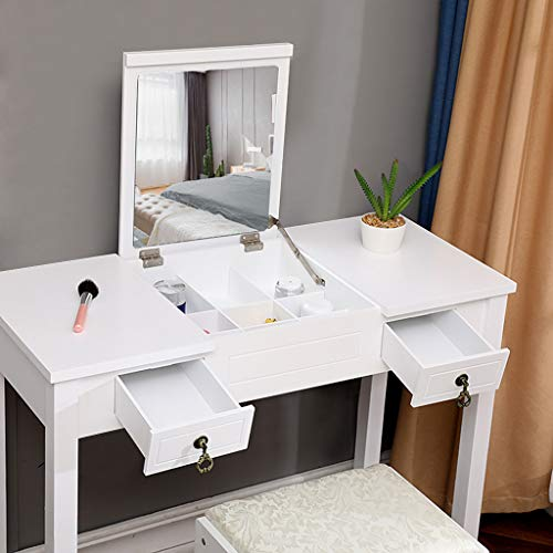 Nivalkid Fast Arrival Vanity Set with Flip Top Mirror Makeup Dressing Table Writing Desk With 2 Drawers Cushioned Stool 3 Removable Organizers Easy Assembly (US) -