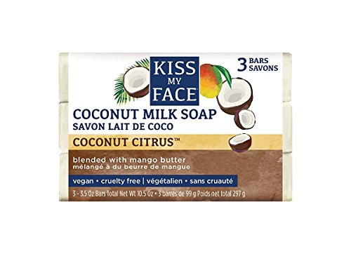 Kiss My Face Pure Coconut Milk Soap Bar with Mango Butter, 3.5 oz, 3 Count (Bar Oil Coconut Soap)