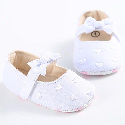 Tefamore zapatos bebes de primeros pasos de antideslizante de sole suave de moda invierno de calentar de Lona Blanco 2