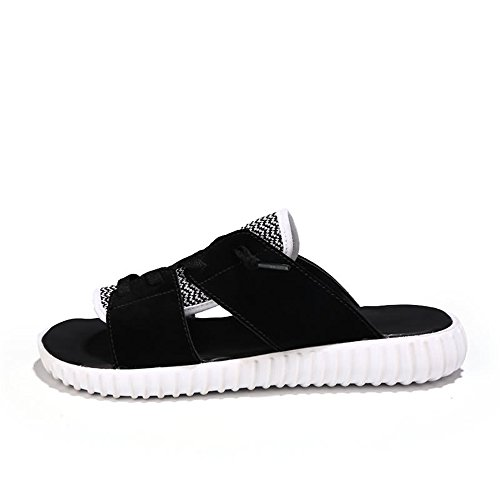 Ocio de Negro Costura tacón Calidad de Llegado Vacaciones a Caminar de Plano de recién Viajes Tejidos de Zapatos los Hecha para Blanco Hombres Alta Mano Vacaciones de Moda Zapatillas OTwfn10w