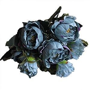 Yamalans 1 Bouquet 8 Heads Artificial Peony Flower Fake Roses Garden Photo Prop Wedding Arrangement Party DIY Decor 50