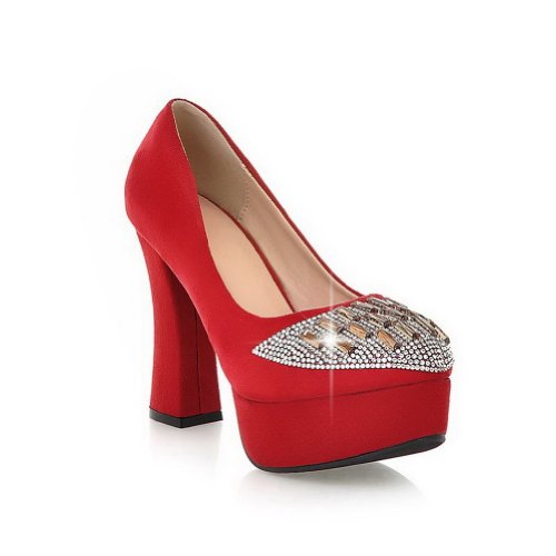 VogueZone009 Womans Closed Round Toe High Heel PU Frosted Solid Pumps with Rhinestones, red, 4.5 UK