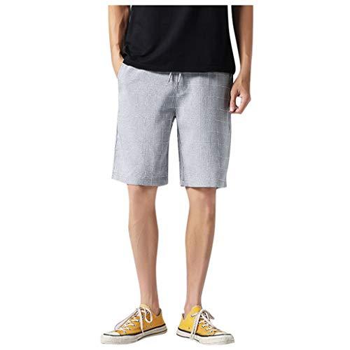 NEEKEY Men's Plaid Casual Loose Shorts Plus Size Fashion Comfortable Sport Pant with Elastic Waist Gray
