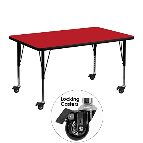 UPC 847254080347, Flash Furniture Mobile 30 by 48-Inch Rectangular Activity Table with 1.25-Inch Thick High Pressure Red Laminate Top and Height Adjustable Pre-School Legs