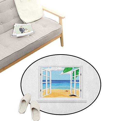 Beach Custom Round Carpet ,View from Window Ocean with Coconut Leaves Starfish Cartoon Illustration, Dorm Room Bedroom Home Decorative 47