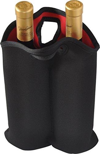 (BroilPro 2-Bottle Neoprene Wine/Water Bottle Tote, Black)