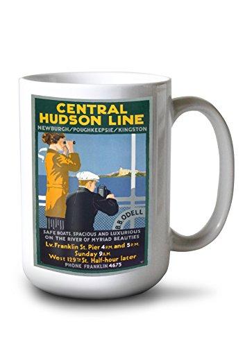 Lantern Press Central Hudson Line Vintage Poster USA (15oz White Ceramic Mug)
