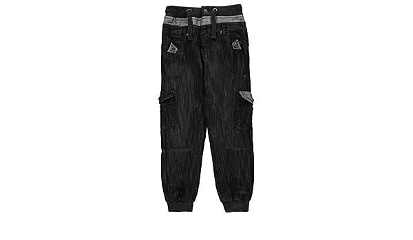 No Fear Niños Double Waist Jog Pantalones Vaqueros Negro S (7-8 ...