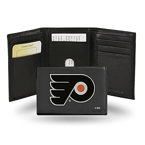 (NHL Philadelphia Flyers Embroidered Leather Trifold Wallet)