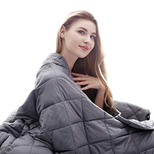 Cheap TURN RAISE Adults Weighted Blanket 2019 New 100% Natural Washing Cotton with Premium Glass Beads for Adults Women Men Heavy Blanket Super Soft Grey (60