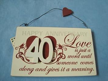 Global Designs Plaque Cadeau 40e Anniversaire De Mariage