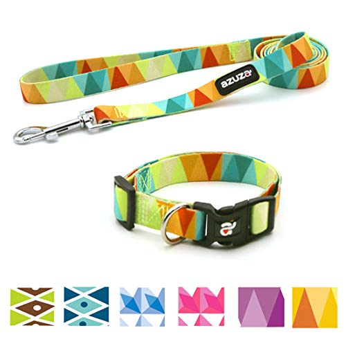 - azuza Dog Collar and Leash Set, Adjustable Nylon Collar with Matching Leash,Yellow Flag,Medium
