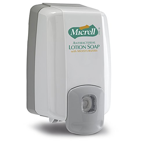 (MICRELL NXT MAXIMUM CAPACITY Push-Style Dispenser, Dove Gray, Dispenser for MICRELL NXT 2000 mL Antibacterial Lotion Soap Refills (Case of 8) - 2225-08)