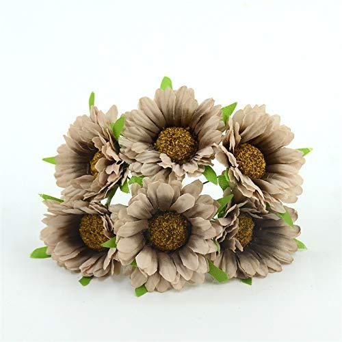 Brown Artificial Wreath - XGM GOU 30Pcs Daisy Artificial Flower Silk Sunflower Bouquet for Wedding Decoration Scrapbooking DIY Wreaths Craft Fake Flowers Brown